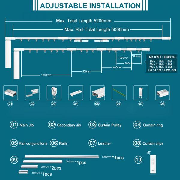 Eachen Wifi Smart Motorized Electric Curtain Set With