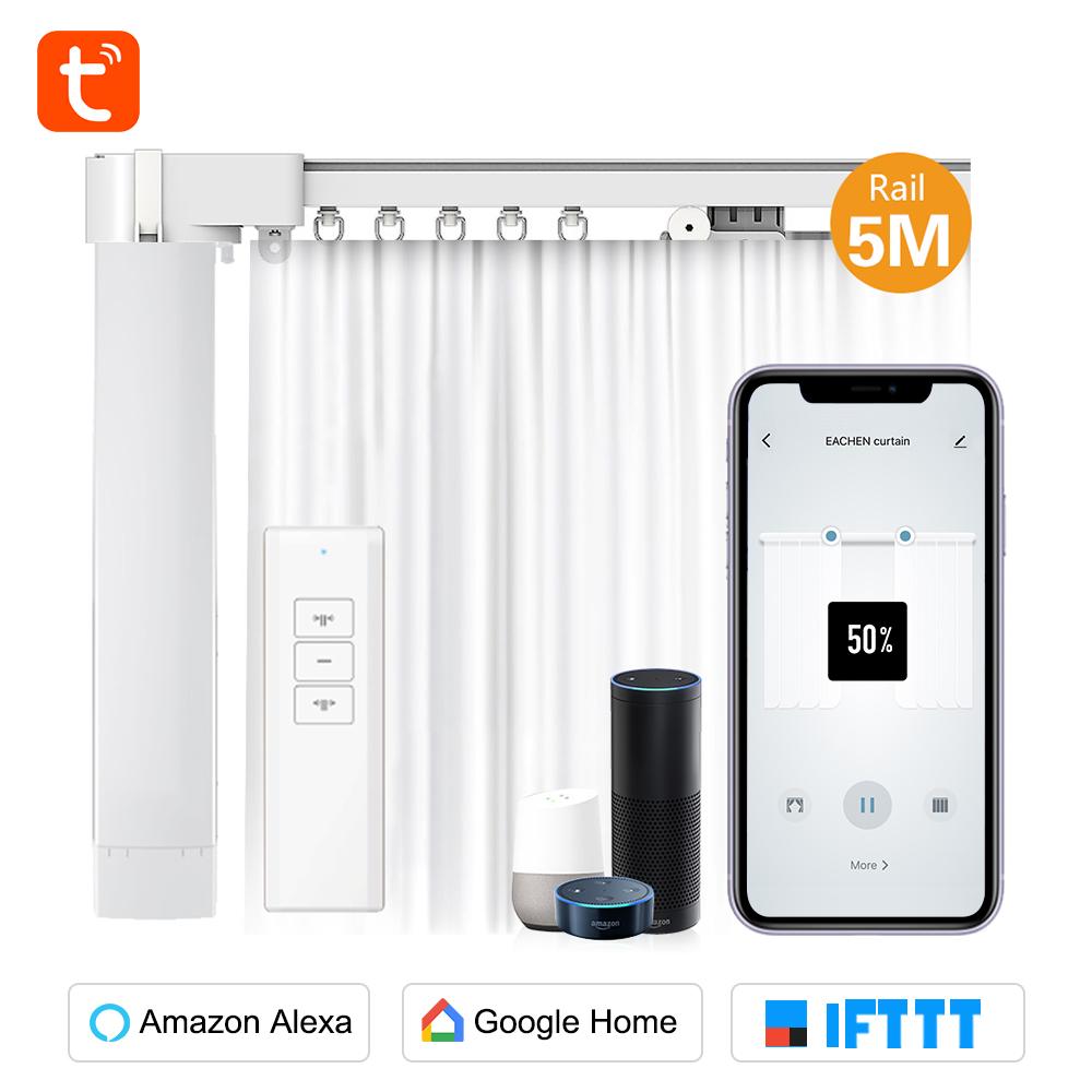 Eachen Wifi Smart Curtain Set With 5m Rails Tuya